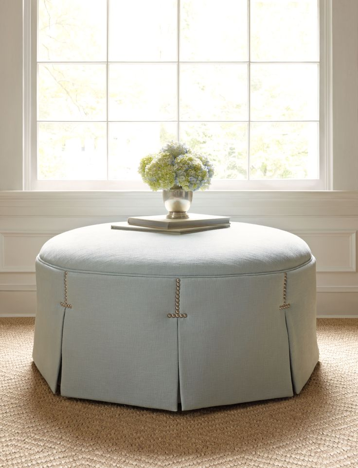 pleated tufted round ottoman ailanthus ltd