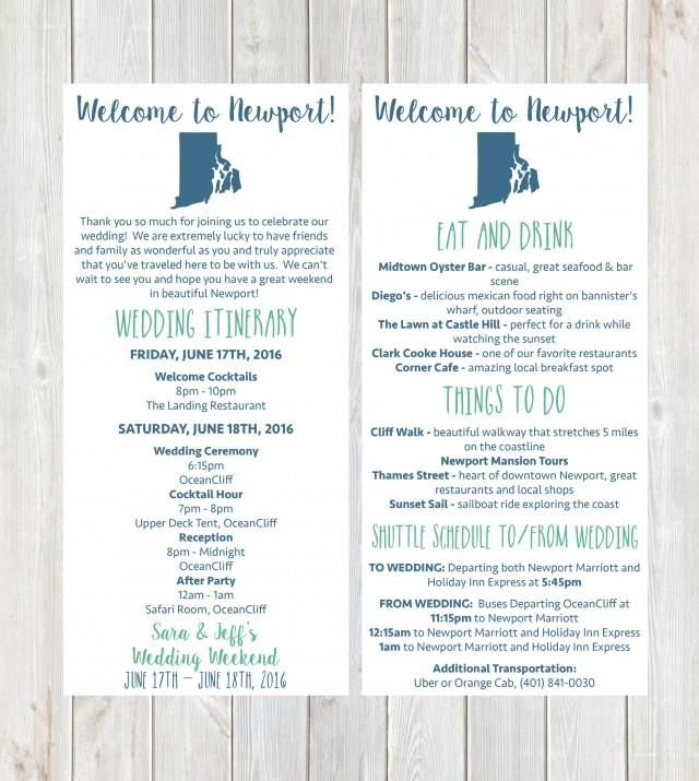 Welcome Letter, Wedding Itinerary, Wedding Welcome Letter, Welcome Bag, Destination Wedding, Newport Wedding, Rhode Island