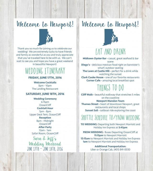 Welcome Letter, Wedding Itinerary, Wedding Welcome Letter, Welcome Bag, Destination Wedding, Newport Wedding, Rhode Island