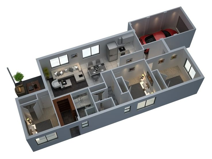 best modern 3d small house floor plans 2015 with 3 bedroom 1 garage homeplans - Home Design Plans Indian Style 3d