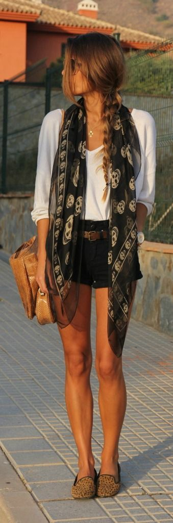 With the exception of the creepyish scarf, love this outfit...the blouse looks light and cool. |Summer outfit ideas||Black and white outfits||Shorts outfit||Dressy casual|