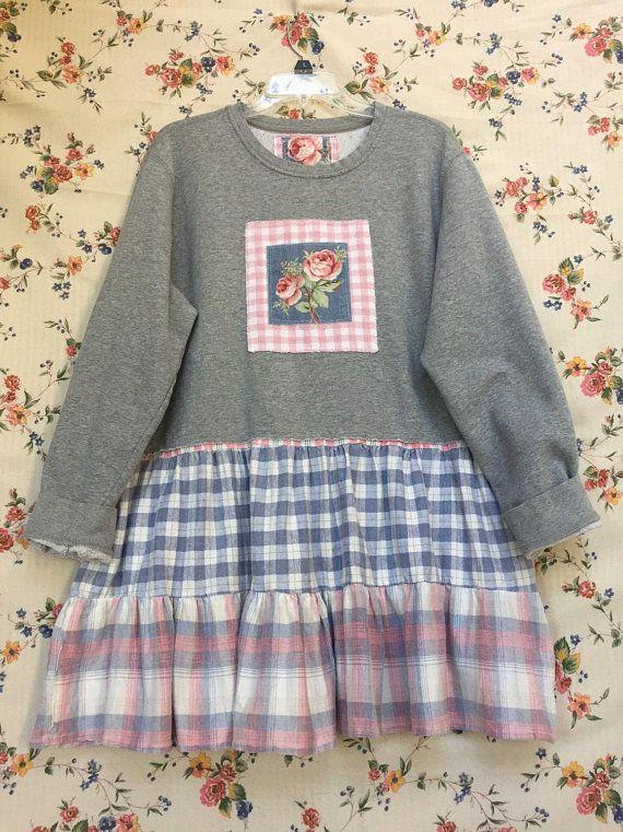 49aaa8932bd2 Upcycled Shabby Chic Gray Sweatshirt Tunic Dress