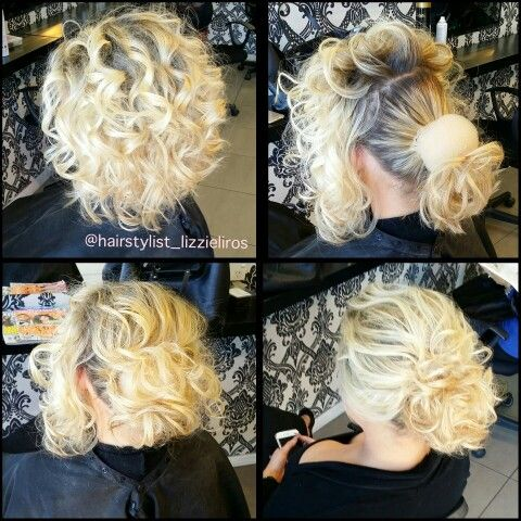 Textured bun on short hair