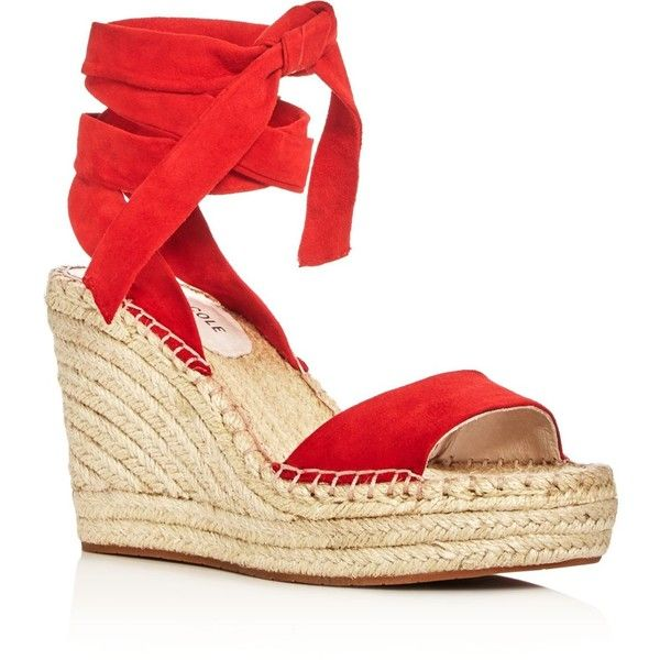 Kenneth Cole Odile Ankle Tie Espadrille Wedge Sandals ($140) ❤ liked on Polyvore featuring shoes, sandals, red sandals, red espadrilles, espadrille sandals, ankle strap sandals and wedge heel sandals