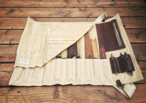 Waxed Canvas and Leather Chef Knife Roll- The Proper Knife Roll