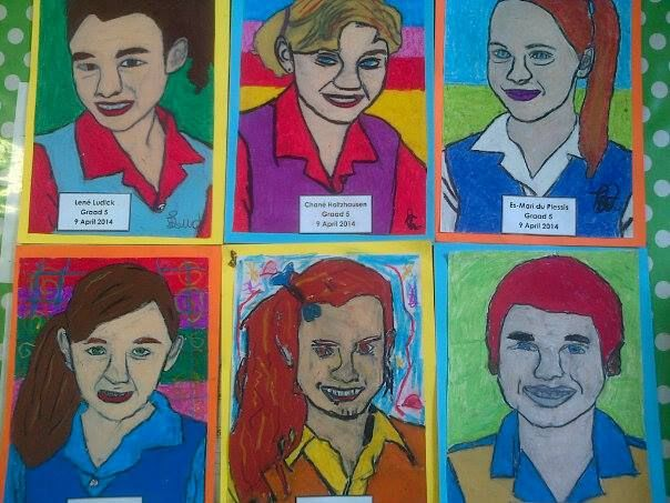 how to draw self portraits with year 1 oil pastels