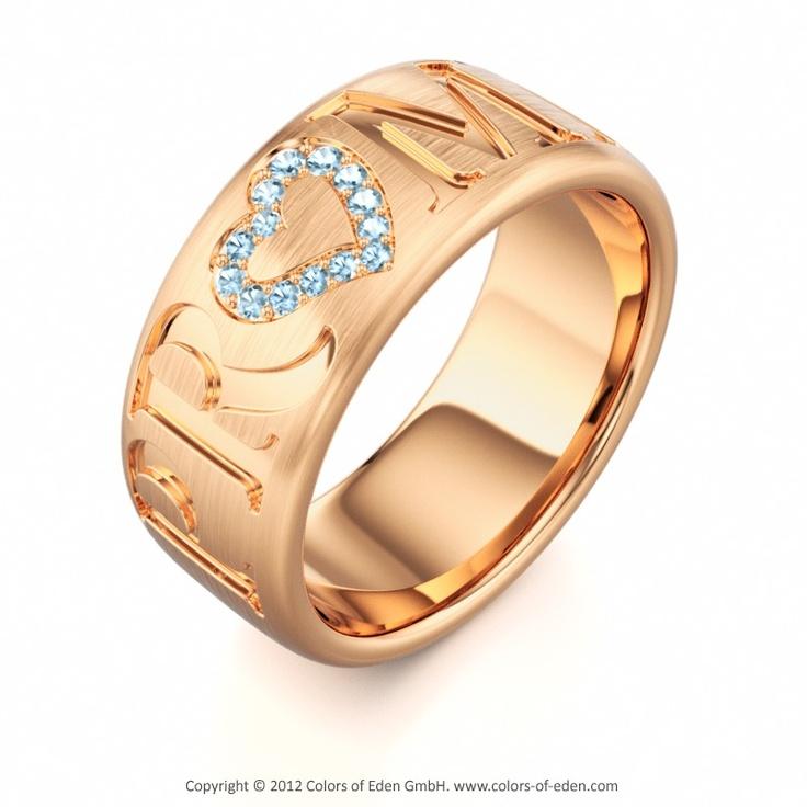 Promise Ring #Love #Aquamarine #Rose #Gold
