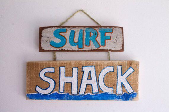 Surf Shack Beach Sign on Reclaimed Wood Beach Baby Nursery Coastal Ocean Kids Room Decor Shabby Chic Beach House Kids Wall Art Island Art