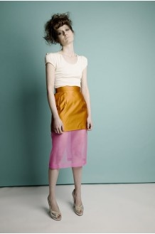 natalie coleman orange & pink silk organza secretary skirt