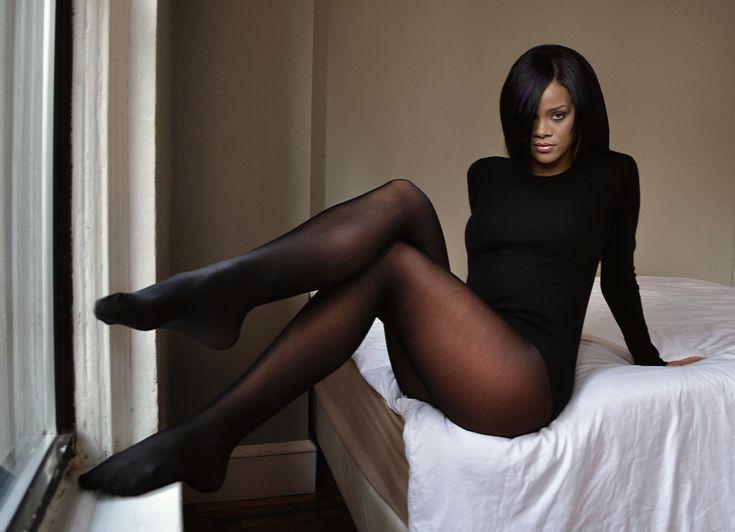 Rihanna only white pantyhose, school girl lapdance