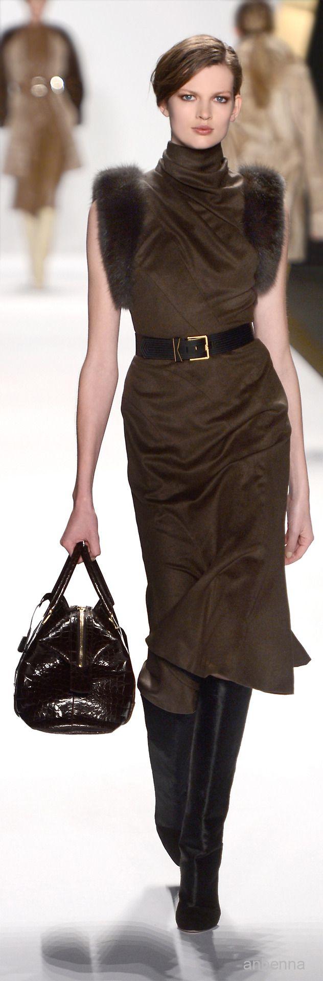 Brown silk dress with fur trim - J.Mendel