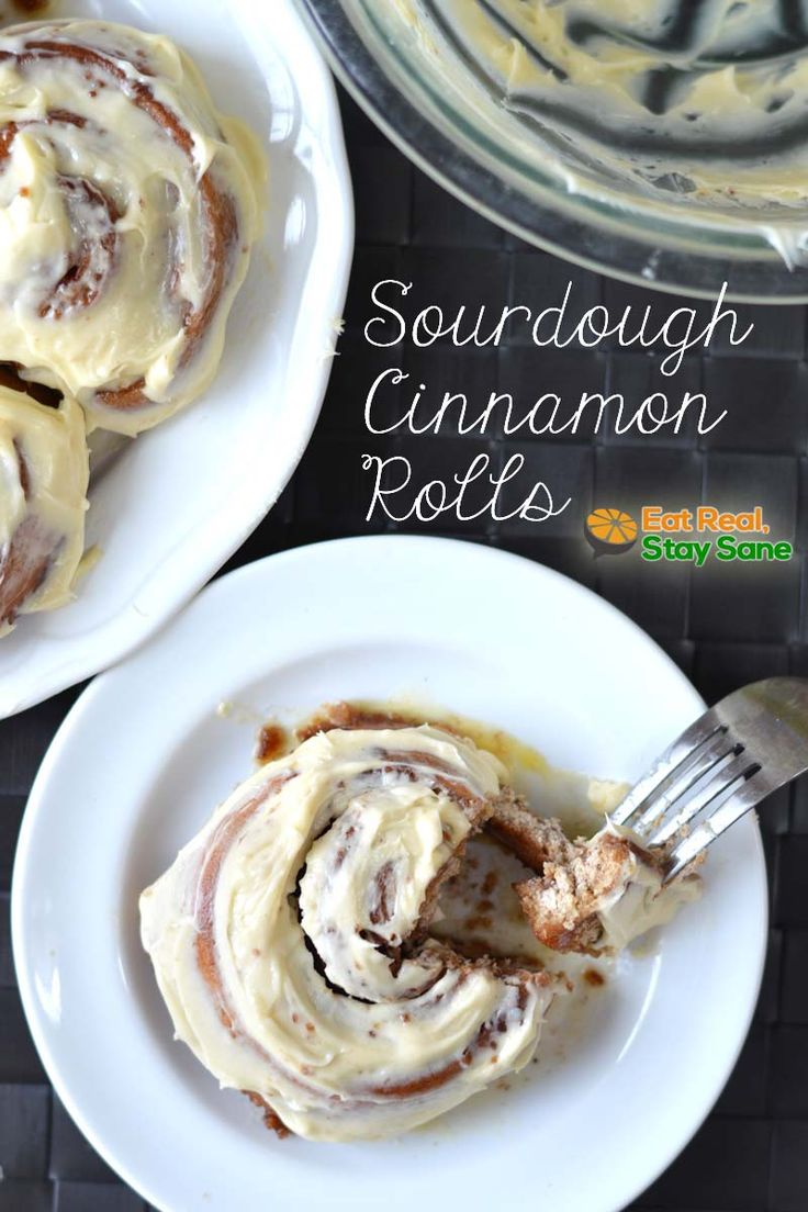 These sourdough cinnamon rolls are tasty, ooey-gooey, goodness. Topped with rich cream cheese frosting. All natural ingredients make these healthy too! @eatrealstaysane #sourdoughcinnamonrolls