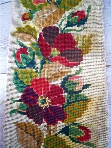 ANTIQUE FRENCH EMBROIDERY TAPESTRY PETIT POINT FLORAL DECOR 19TH-CENTURY