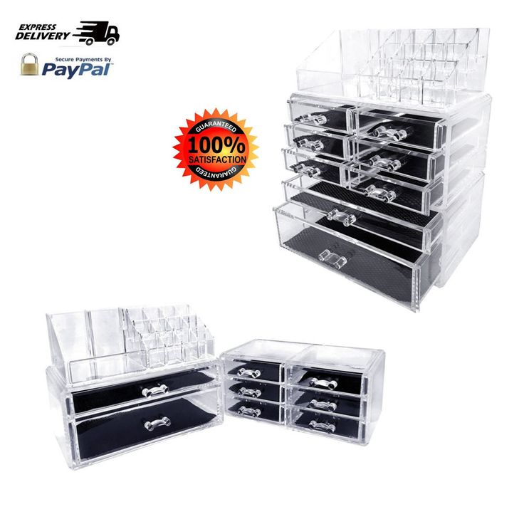 Clear Cosmetics Makeup And Jewelry Storage Organizer Case Drawers Display New #Sodynee