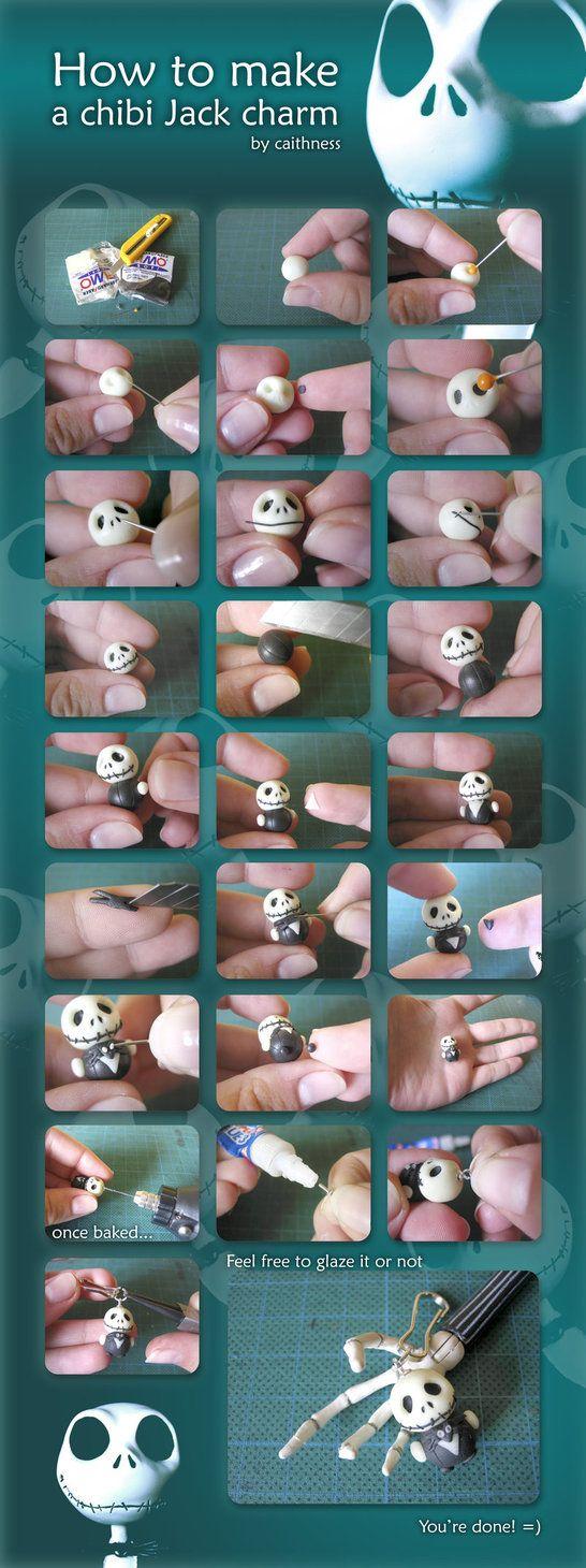 chibi jack: Ideas, Polymer Clay Tutorials, Clay Charms, Jack Charms, Chibi Jack, Jack O'Connel, Jack Skeleton, Crafts, Jack Skellington