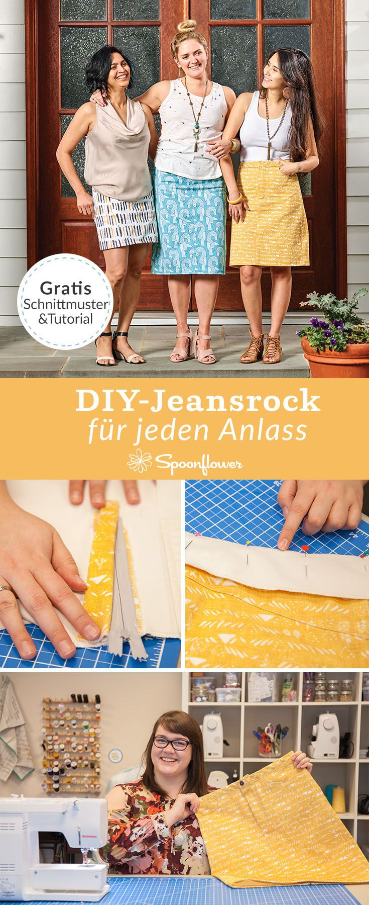 Jeansrock Tutorial gratis Schnittmuster | Spoonflower – DE