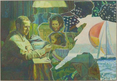 "Ilya & Emilia Kabakov - The Appearance of Collage, #6 oil on canvas, 74"" x 107"" (188 cm x 271.8 cm), 2012"