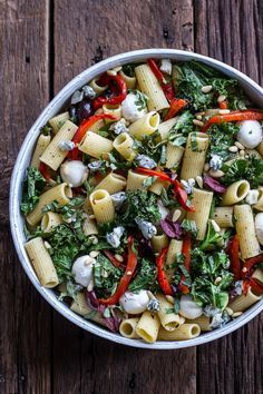 Grilled Kale + Red Pepper Tuscan Pasta Salad