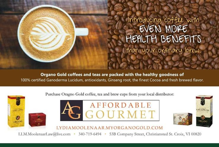 Need a cup of great coffee or tea? Check out Organo Gold at Affordable Gourmet. Try Black Coffee, King of Coffee, and smooth Café Latte. Also try the Green Tea and Red Tea…nice! Beautiful packaging – give as a gift. Lydia Moolenaar will tell you the benefits of these coffees and teas. Check out their beautiful ad in 2016 Elegant St. Croix Caribbean Weddings Magazine and give them a call. #virginislands #Coffee #caribbean #vinice…