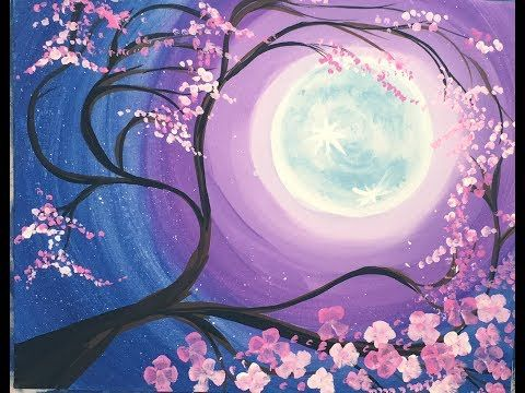 How To Paint A Cherry Blossom Tree With Moon Step By Step Painting Cherry Blossom Painting Acrylic Cherry Blossom Painting Tree Painting