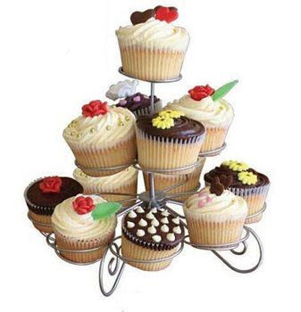 3 Tier Wire Cupcake Stand Muffin Holder Tower Wedding Cakes Decorating Supplies Baking Kitchen Party Tools  Accessories Products