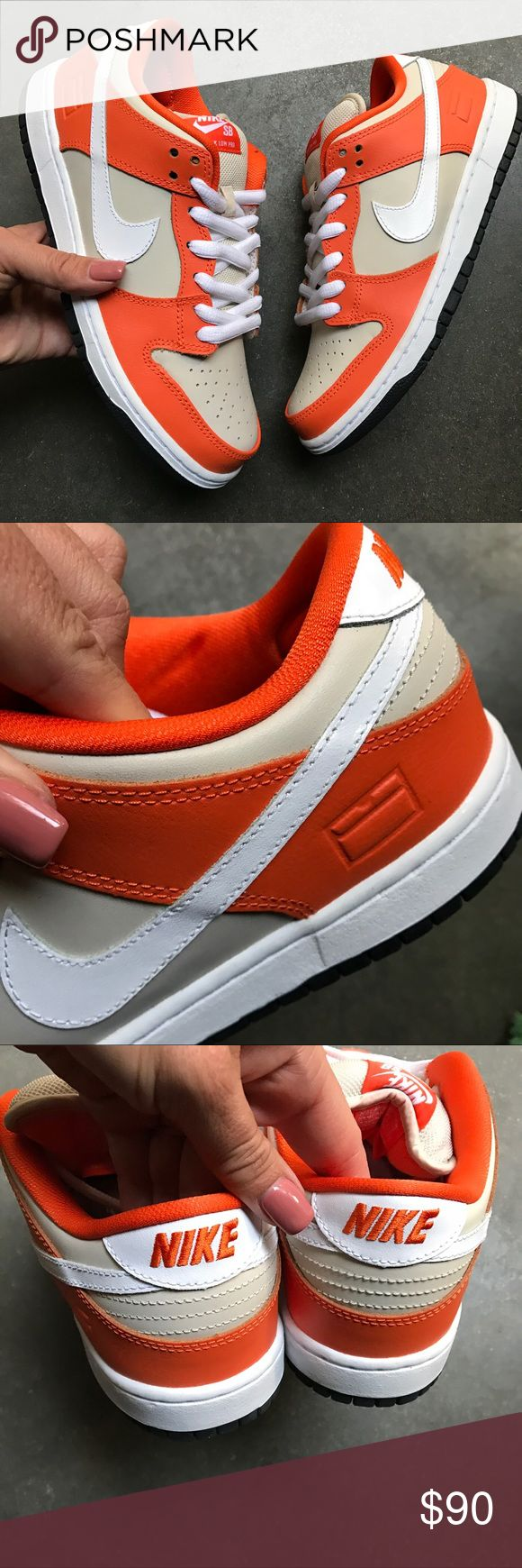 NEW 🏀 NIKE SB DUNK LOW PREMIUM FITS WOMEN S 8.5-9 PUT YOUR BEST FOOT FORWARD IN THESE! 🏀 ORANGE BOX EDITION, REPRESENTING THE ICONIC NIKE SHOE BOX IN SIGNATURE ORANGE | 100% AUTHENTIC. NO ORIGINAL NIKE BOX.  SIZE 7 MEN APPROX FITS WOMENS SZ 8.5-9. Please know your men's NIKE size prior to ordering.   ONE PAIR IS AVAILABLE.  SHIPS SAME OR NEXT DAY FROM MY SMOKE FREE HOME.   BUNDLE TO SAVE. ✨   ALL PRODUCT IS 100% AUTHENTIC & DIRECT FROM NIKE. Nike Shoes Athletic Shoes
