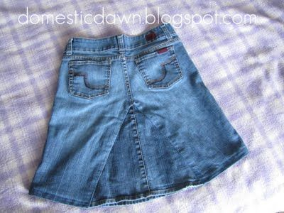 Domestic Dawn: How to make a jean skirt from an old pair of jeans