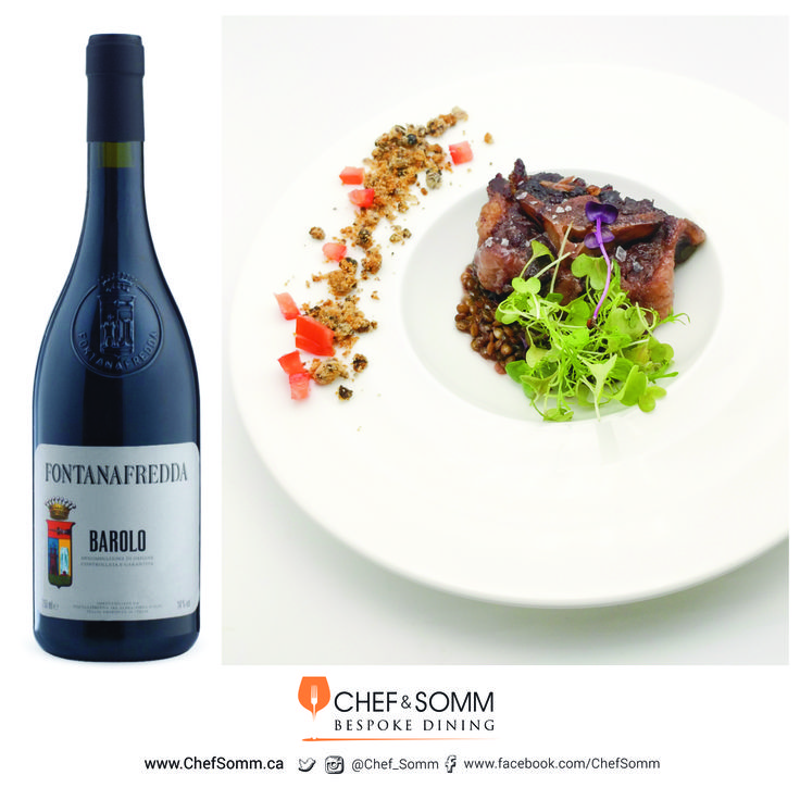 Slow braised Osso Bucco that was marinated over-night in red wine and herbs, with le puy lentils, sour blueberries streusel, and seedlings. Paired with Fontanafredda Barolo, Piedmont, Italy, 2011 $29.95  more about the pairing on our FB and IG pages