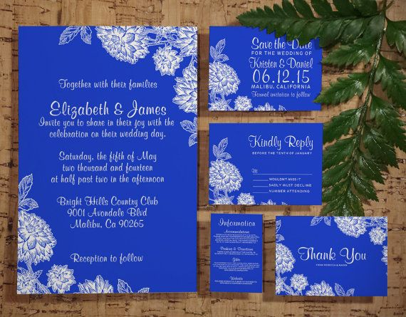 Elegant Cobalt Blue Wedding Invitation Set/Suite by InvitationSnob