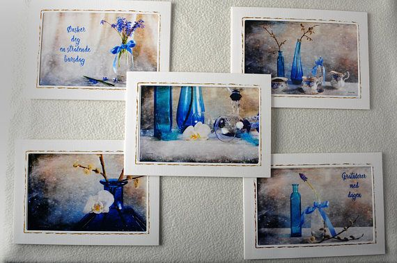 Greeting Cards With Photgraphic Fine Art  Floral Blue Cards