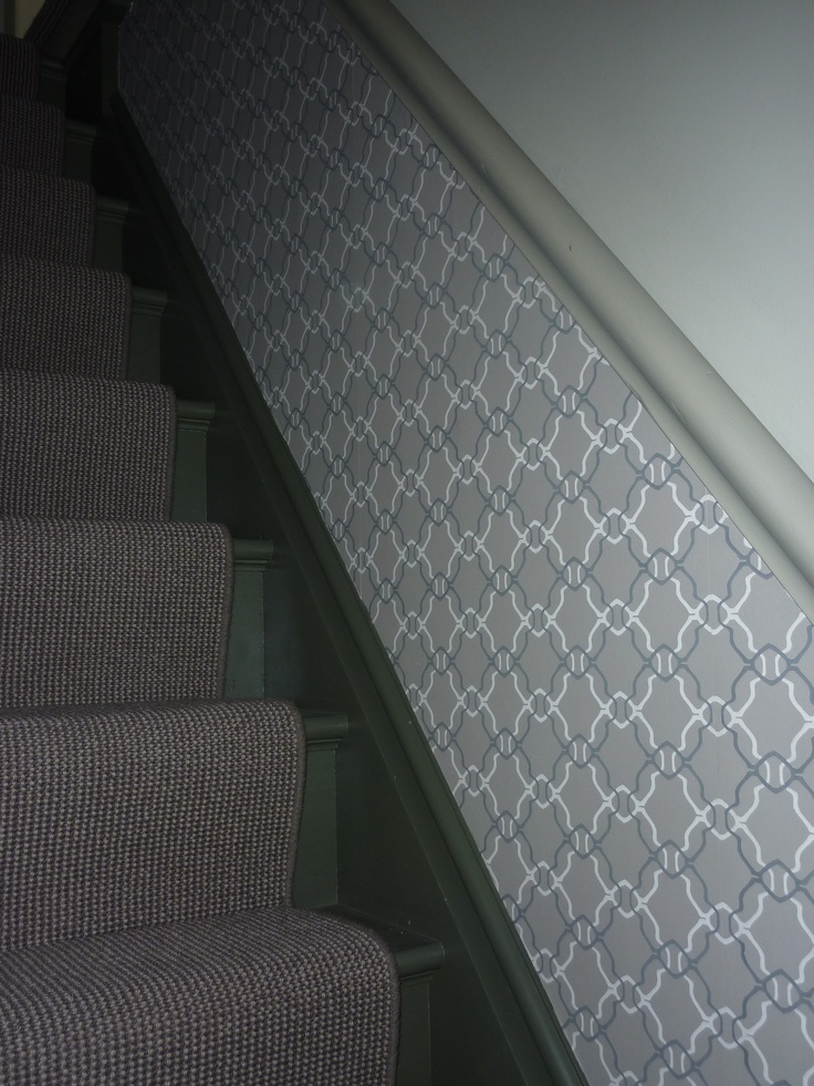 Hallway wallpaper maybe paint two toned stairs landing - How to wallpaper stairs and landing ...