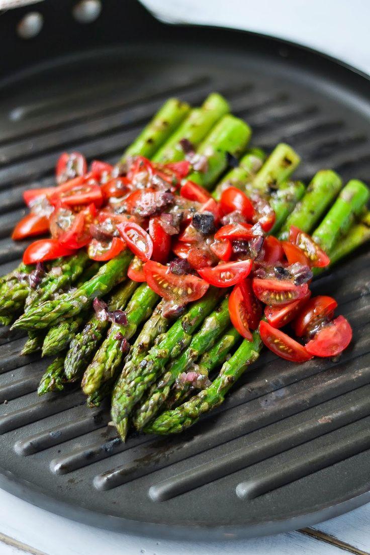 Pan-Grilled Asparagus with Kalamata Olive Vinaigrette #splendideats