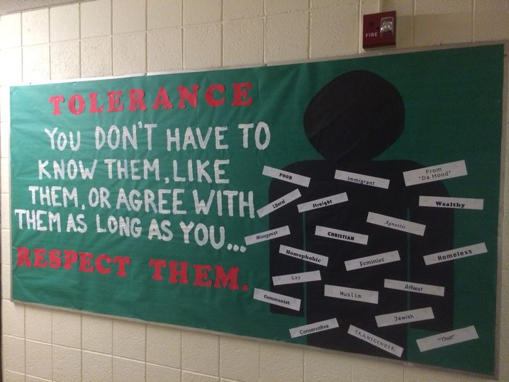 Social justice and tolerance themed board.