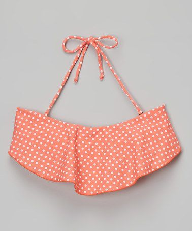 Another great find on #zulily! Coral Polka Dot Bandeau Bikini Top - Girls #zulilyfinds