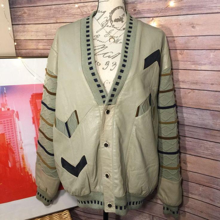 VTG 90s COOGI style SAXONY Leather Knit cardigan sweater jacket Mens Large #Saxony #Cardigan
