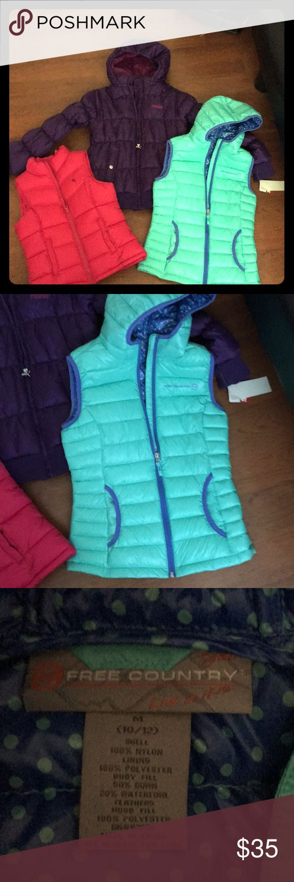 Flash sale Unbelievable winter puffer bundle. Brand new with tags Puma winter puffer coat. Size girls large 12-14. Almost new teal and purple free country size med 10-12 girls like new, and last adorable hot pink puffer vest, old navy brand. Size girls medium 10-12 like new Puma Jackets & Coats Puffers