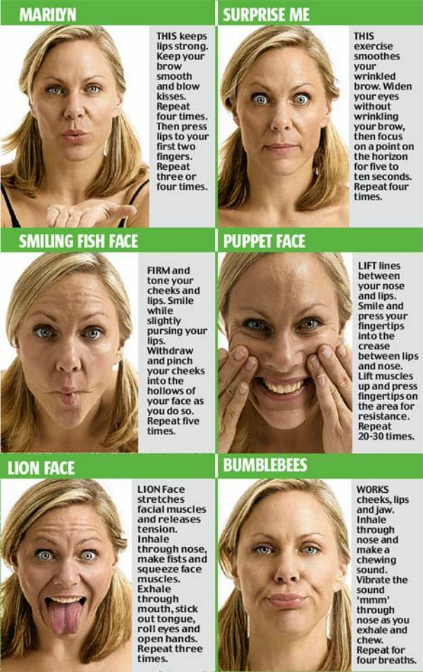 10 Yoga Exercises For Slimming Your Face.  This is a common practice among Korean actors & actresses, where 'Ma Me Mi Mo Mu' is repeated 10 times for exercising their lip & cheek muscles. In addition to this, co-ordinated stretching of facial muscles with breathing is also recommended. Read more:
