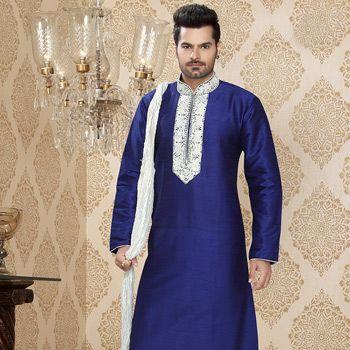 Blue Art Silk Readymade Kurta With Churidar