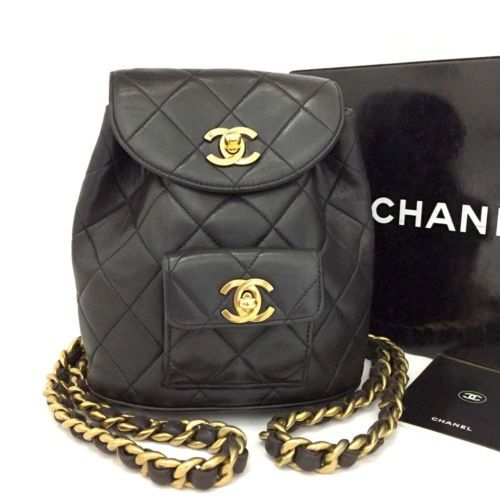 16ba7c36153e CHANEL Quilted Matelasse CC Logo Lambskin Chain Mini Backpack Black /n691