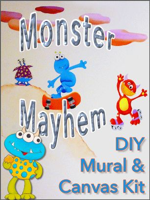 DIY Wall Mural & Canvas Pattern Kit - comes with 16 monsters of varying sizes and scariness! Each kit includes 8 pages of tips and examples, and there's a series of great how-to videos on our website.