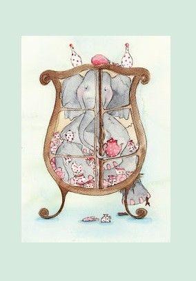 Als een olifant in de (... in een) porseleinkast  Betekenis: dat wordt gezegd over iemand die buitengewoon onvoorzichtig, tactloos of ruw is E: like a bull in a china shop F: comme un éléphant dans un magasin de porcelaine D: wie ein Elefant im Porzellanladen I: come un elefante in un negozio di porcellane S: como un elefante en una cacharrería P: como elefante em loja de porcelanas
