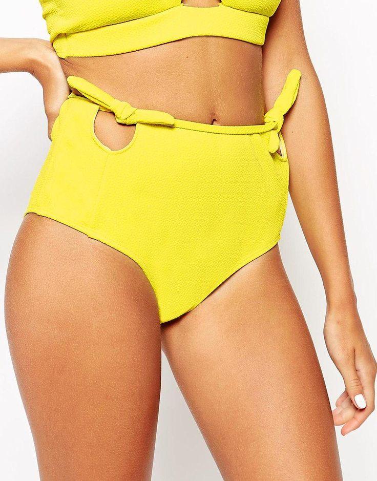 Motel | Motel Yellow Sun Cut Out Bow High Waisted Bikini Bottoms at ASOS