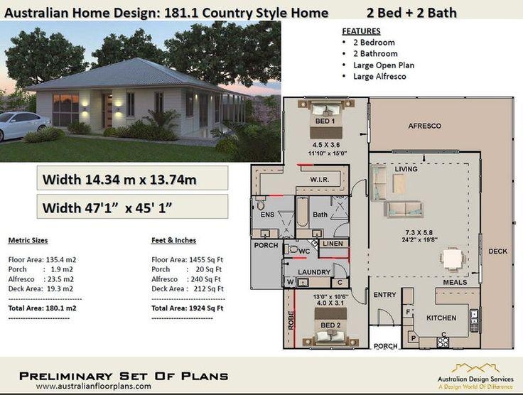 2 Bedroom House Plans Australia 180m2 1924 Sq.Ft Etsy in