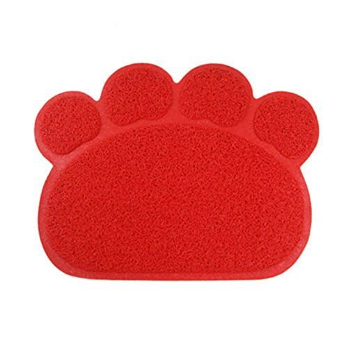 Pet Dog Puppy Cat Feeding Mat Pad Cute Paw PVC Bed Dish Bowl Food Water Feed Placemat Wipe Clean 3040cm Red >>> See this great product.