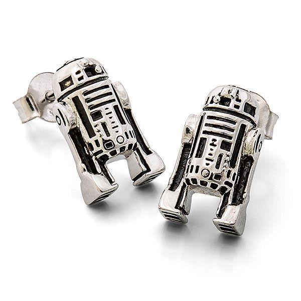 Star Wars Sterling Silver R2-D2 stud earrings at ThinkGeek