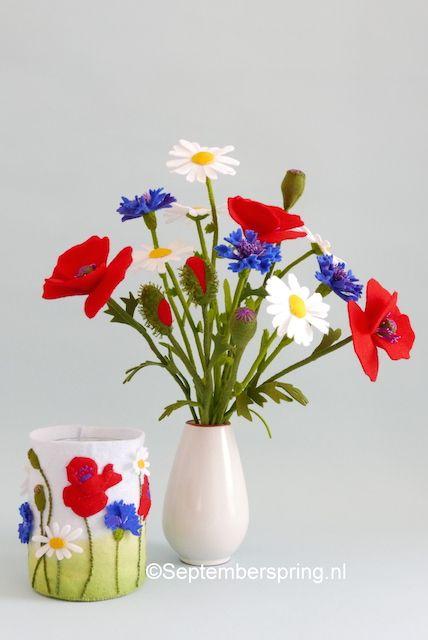 ©Septemberspring.nl Vilt felt bloemen flowers Margriet korenbloem klaproos