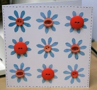 vintage button flower cards