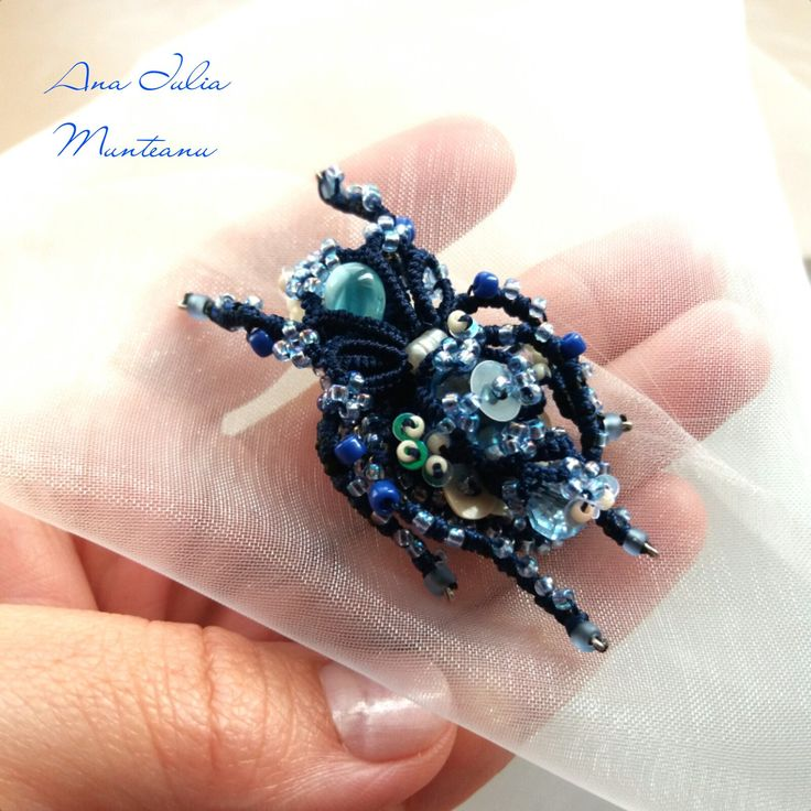 BLUE NIGHT BUG - Insect brooch