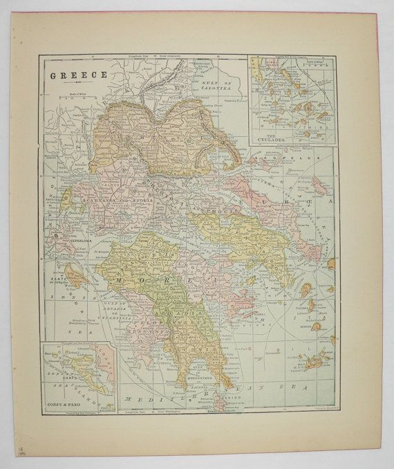 Antique Greece Map 1896 Vintage Map of Greece, Greek Islands Map Cyclades, Greece Gift for Traveler, Man Cave Art Gift for Him available from OldMapsandPrints.Etsy.com #Greece #Cyclades #VintageGreekDecor