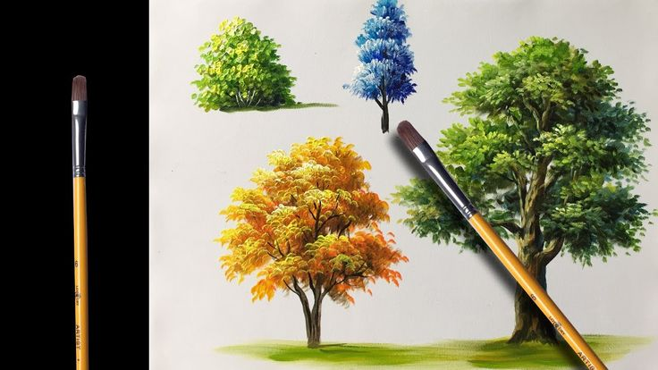painting trees with a fan brush step by step acrylic - 736×414